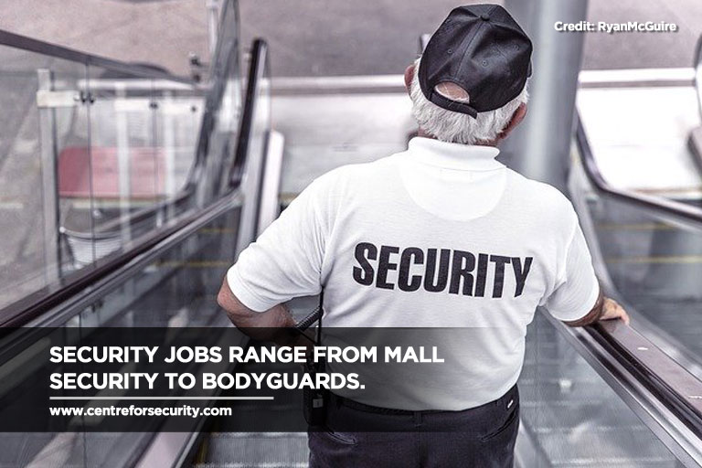 Security jobs range from mall security to bodyguards.