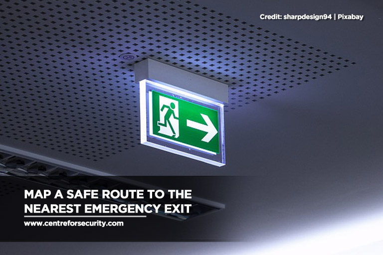 Map a safe route to the nearest emergency exit